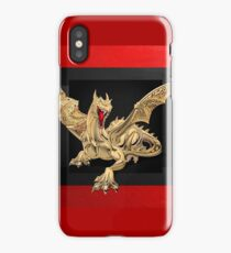 The Great Dragon Spirits - Golden Guardian Dragon on Red and Black Canvas iPhone Case/Skin