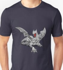 The Great Dragon Spirits - Silver Guardian Dragon on Black and Red Canvas Unisex T-Shirt