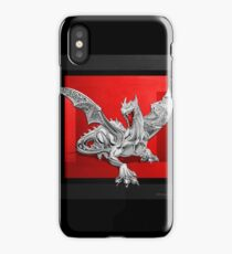 The Great Dragon Spirits - Silver Guardian Dragon on Black and Red Canvas iPhone Case/Skin