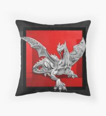 The Great Dragon Spirits - Silver Guardian Dragon on Black and Red Canvas Throw Pillow