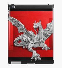 The Great Dragon Spirits - Silver Guardian Dragon on Black and Red Canvas iPad Case/Skin