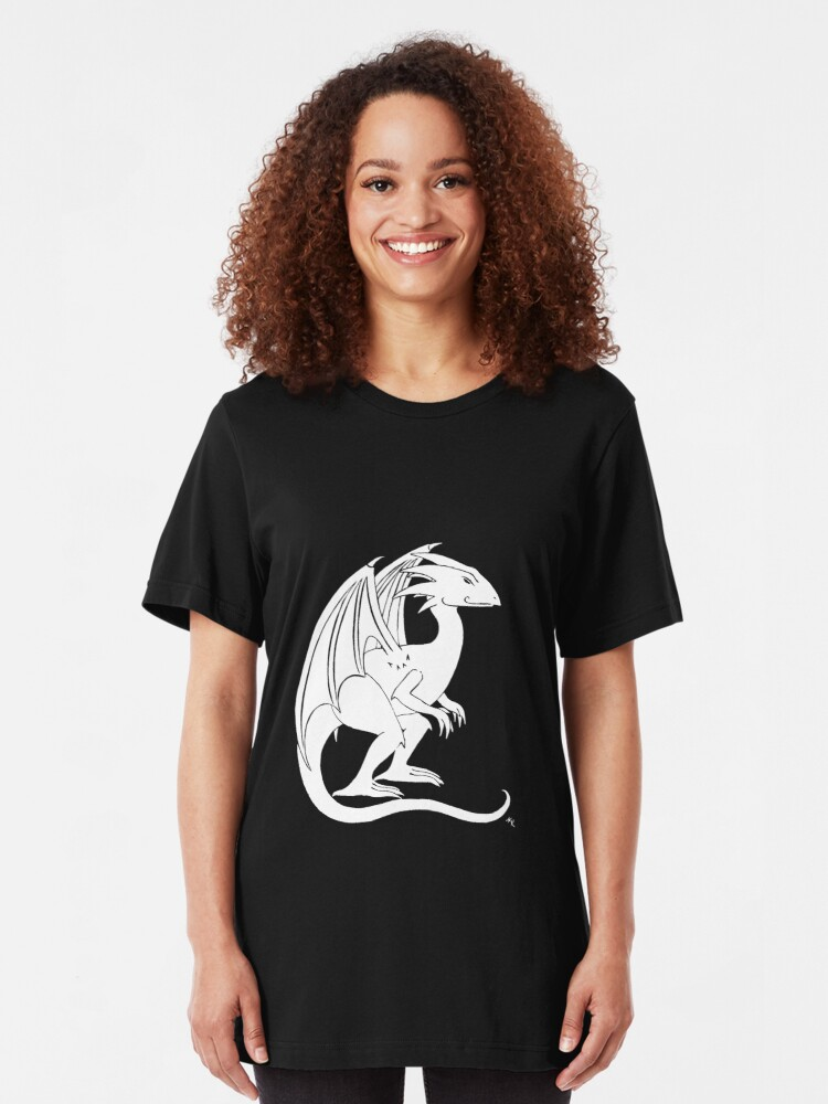 Alternate view of Smirking Dragon (white) Slim Fit T-Shirt