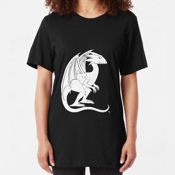 Smirking Dragon (white) Slim Fit T-Shirt