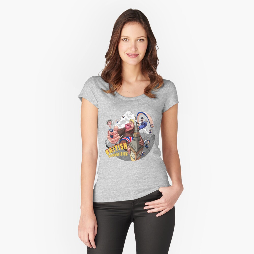 British Paragliding Women's Fitted Scoop T-Shirt Front