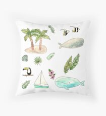 Tropical whales Throw Pillow
