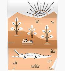 Hippo Landscape Poster