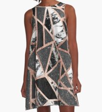 Modern Rose Gold Glitter Marble Geometric Triangle A-Line Dress