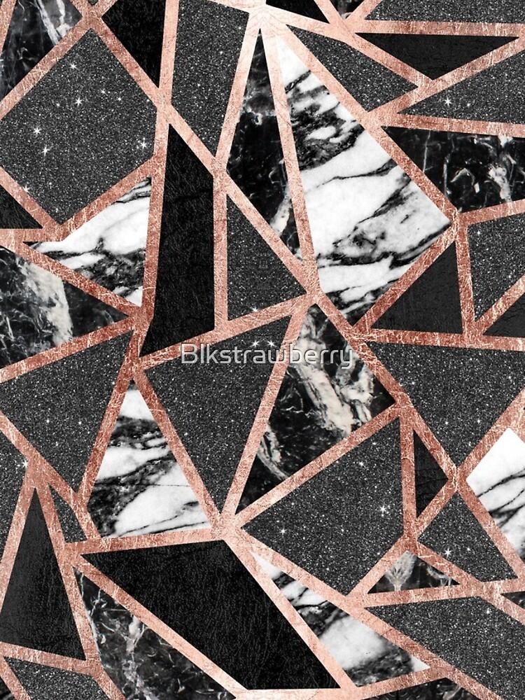 Triángulo geométrico moderno del mármol del brillo de Rose del oro de Blkstrawberry