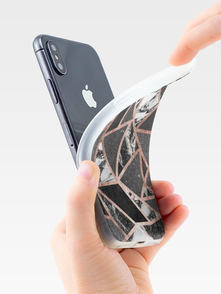 Vista alternativa de Vinilos y fundas para iPhone Triángulo geométrico moderno del mármol del brillo de Rose del oro