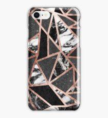 Modern Rose Gold Glitter Marble Geometric Triangle iPhone Case/Skin
