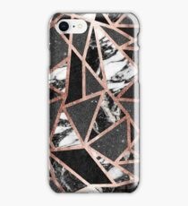 Modern Rose Gold Glitter Marble Geometric Triangle iPhone Case/Skin