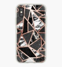 Modern Rose Gold Glitter Marble Geometric Triangle iPhone Case