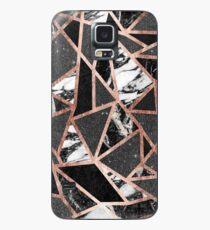 Modernes Rosen-Goldfunkeln-Marmor-geometrisches Dreieck Hülle & Klebefolie für Samsung Galaxy