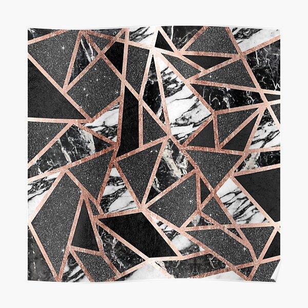 Modern Rose Gold Glitter Marble Geometric Triangle Poster