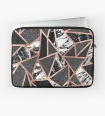 Modern Rose Gold Glitter Marble Geometric Triangle Laptop Sleeve