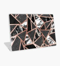 Modern Rose Gold Glitter Marble Geometric Triangle Laptop Skin