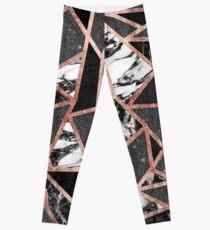 Modern Rose Gold Glitter Marble Geometric Triangle Leggings