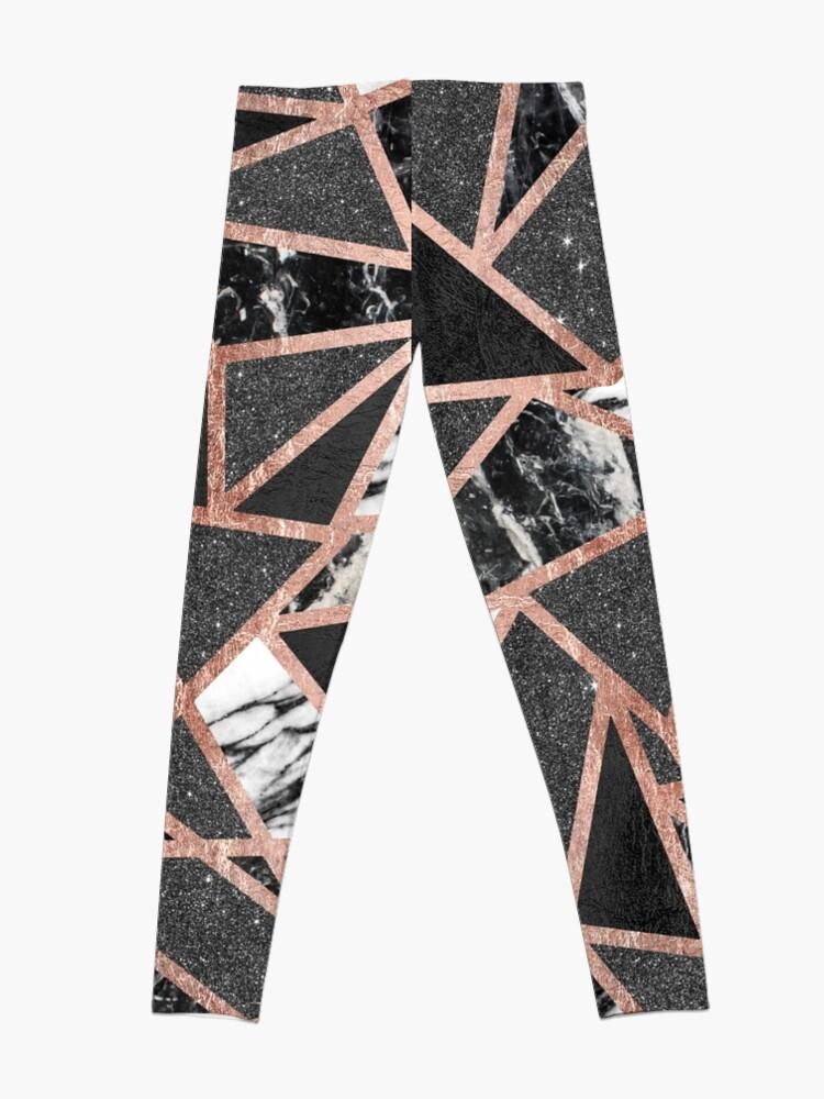 Alternative Ansicht von Modernes Rosen-Goldfunkeln-Marmor-geometrisches Dreieck Leggings