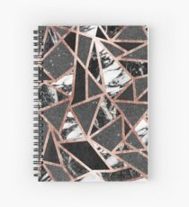 Modern Rose Gold Glitter Marble Geometric Triangle Spiral Notebook