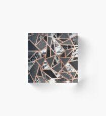 Modernes Rosen-Goldfunkeln-Marmor-geometrisches Dreieck Acrylblock