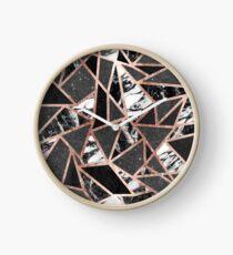 Modern Rose Gold Glitter Marble Geometric Triangle Clock