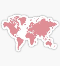 Rose Gold World Map Sticker
