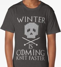 Winter is Coming Knit Faster Design Long T-Shirt