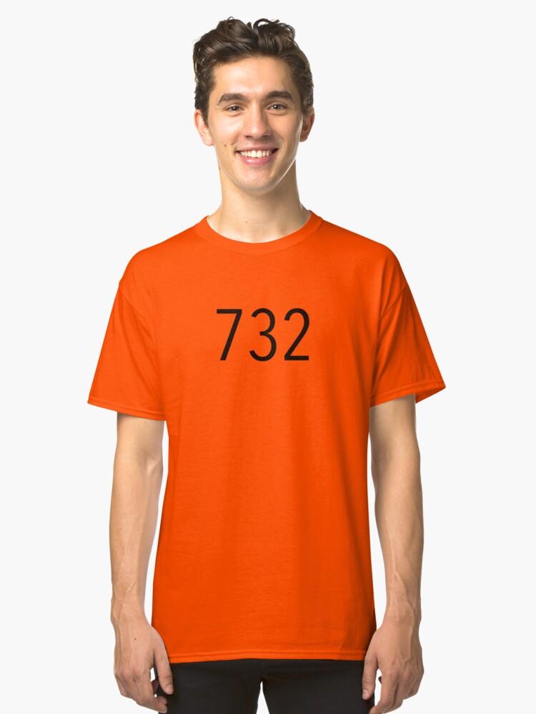 Plain Black Area Code Classic TShirt By BaesicClothing - 732 area code