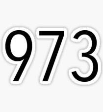 Plain Black 973 Area Code Sticker