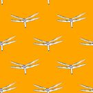 Dragonflies on Orange by Judi FitzPatrick