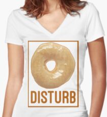 Donut Disturb - Twin Peaks Inspired Women's Fitted V-Neck T-Shirt