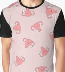 Crazy Happy Uterus in Pink, Large Graphic T-Shirt