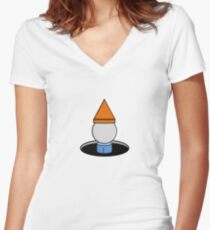 Mignome in a Hole Women's Fitted V-Neck T-Shirt