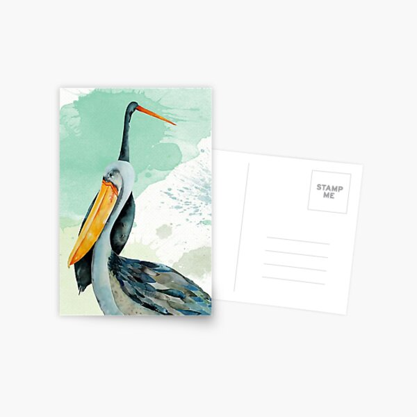 Percy the Pelican hangs out with friends Postcard