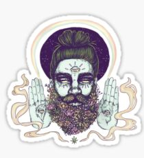 Flower Beard || Psychedelic Illustration by Chrysta Kay Sticker