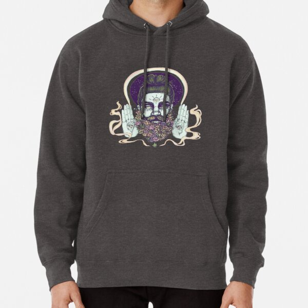 Flower Beard || Psychedelic Illustration by Chrysta Kay Pullover Hoodie