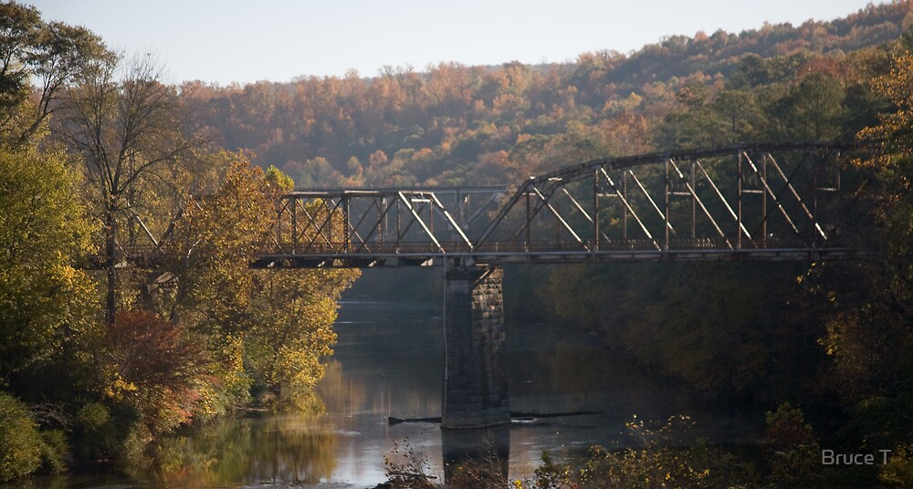 Train tressel over water by Bruce T