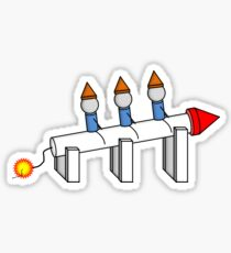 Mignomes Sitting on a Rocket Sticker