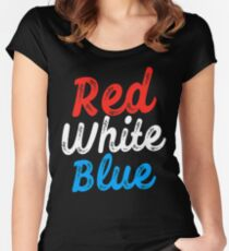 red white and blue Women's Fitted Scoop T-Shirt