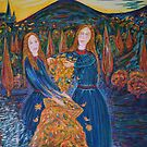 Auburn Haired Girls  Collecting Autumn Leaves                                Autumn          by Vincent Loverso