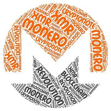 Monero XMR Revolution Block Chain CryptoNote Word  by curbapparel