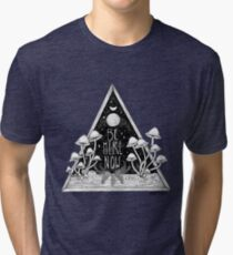Be Here Now || Zen typography mushroom illustration  Tri-blend T-Shirt