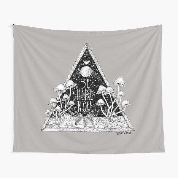 Be Here Now    Zen typography mushroom illustration  Tapestry