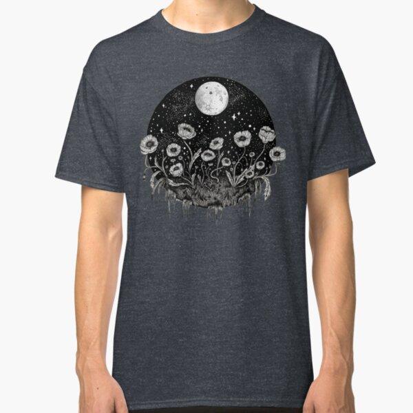 Moonlit Poppies || Botanical moon illustration Classic T-Shirt