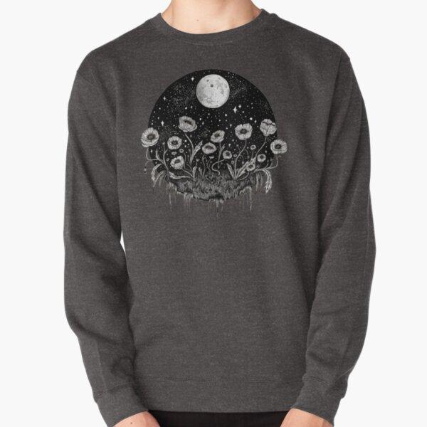 Moonlit Poppies    Botanical moon illustration Pullover Sweatshirt