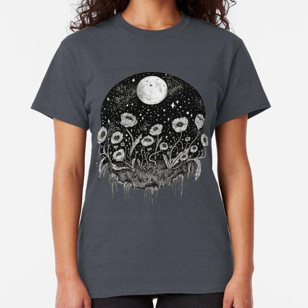 Moonlit Poppies    Botanical moon illustration Classic T-Shirt