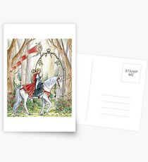 Rose Unicorn Maiden Postcards