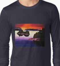 Purple Sunset Landscape Painting Long Sleeve T-Shirt