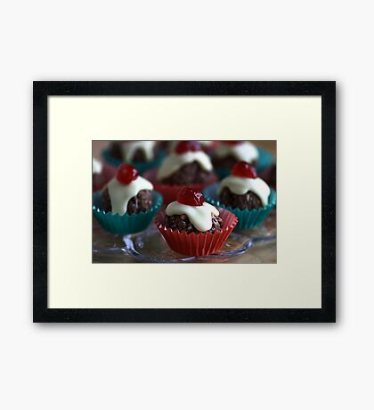 Cherry & Chocolate Cupcakes Framed Print