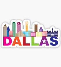 Dallas Skyline Lone Star Text Color Illustration Sticker
